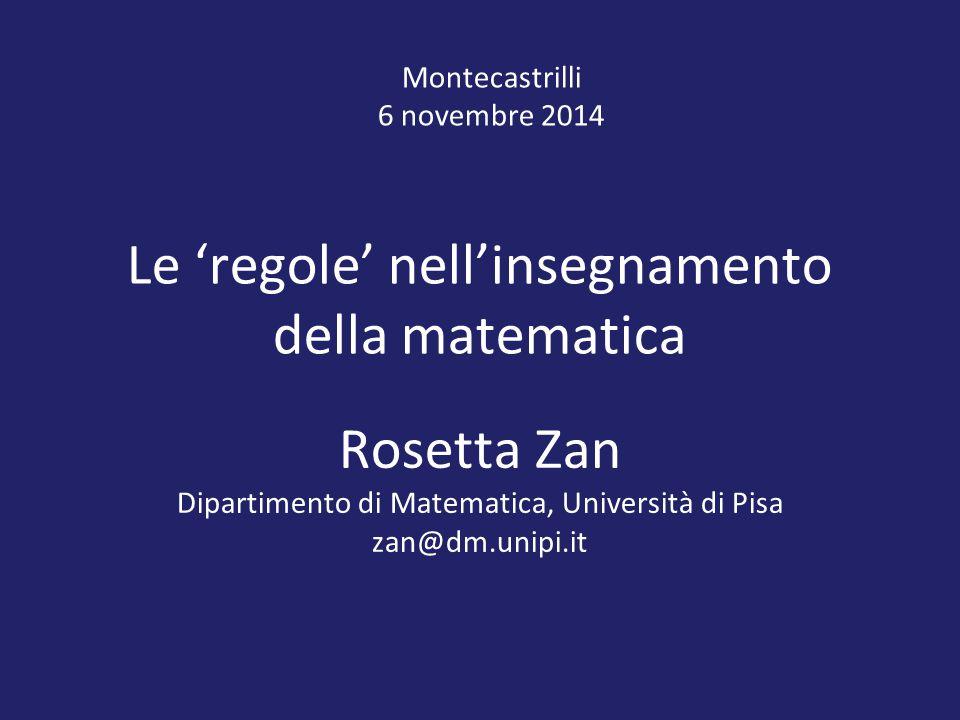Le 'regole' nell'insegnamento della matematica