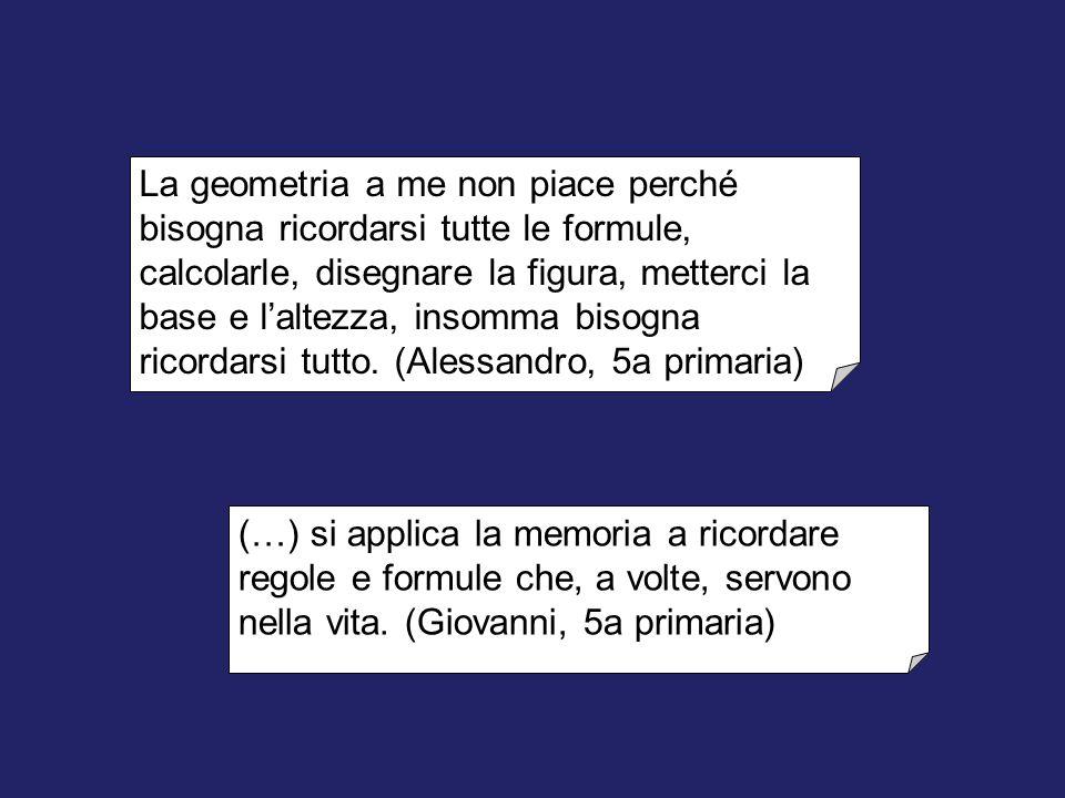 La geometria a me non piace perché bisogna ricordarsi tutte le formule, calcolarle, disegnare la figura, metterci la base e l'altezza, insomma bisogna ricordarsi tutto. (Alessandro, 5a primaria)