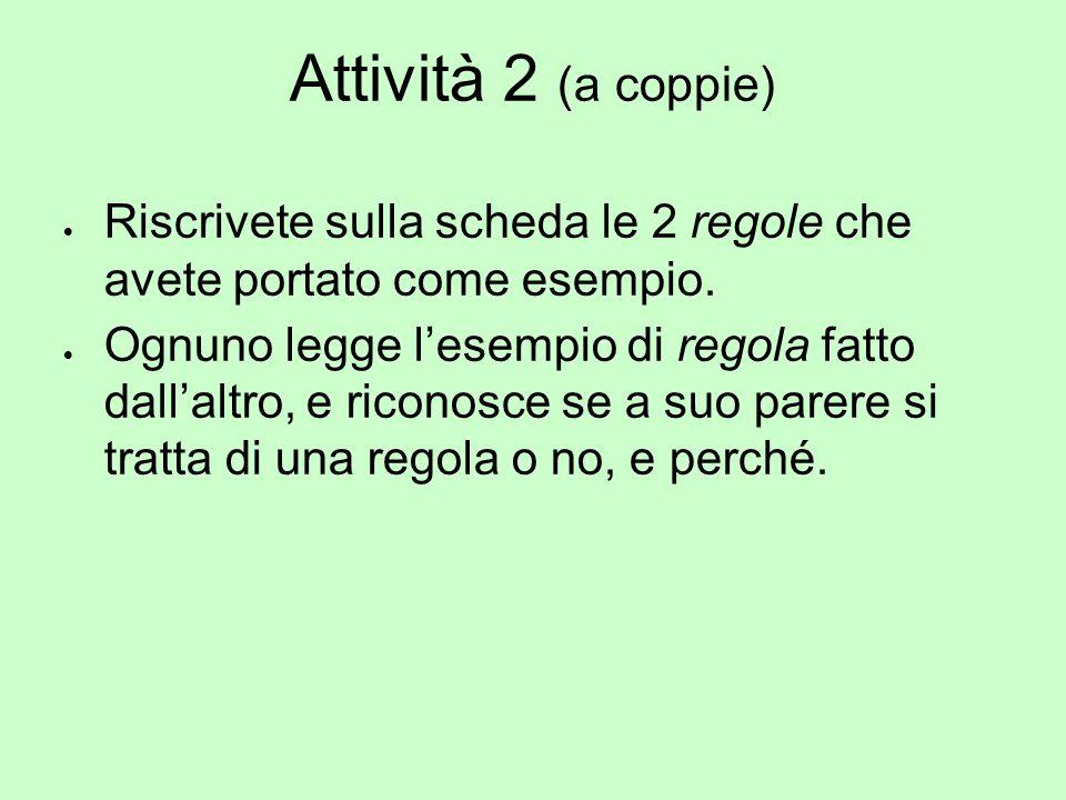 Attività 2 (a coppie) Riscrivete sulla scheda le 2 regole che avete portato come esempio.