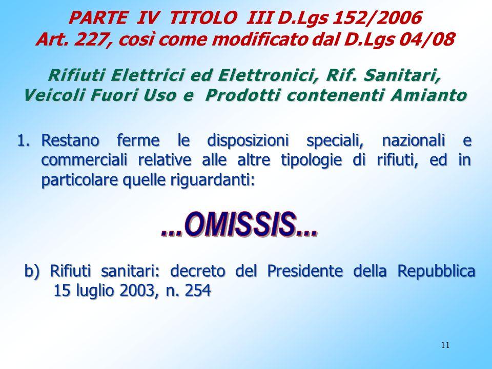 PARTE IV TITOLO III D. Lgs 152/2006 Art