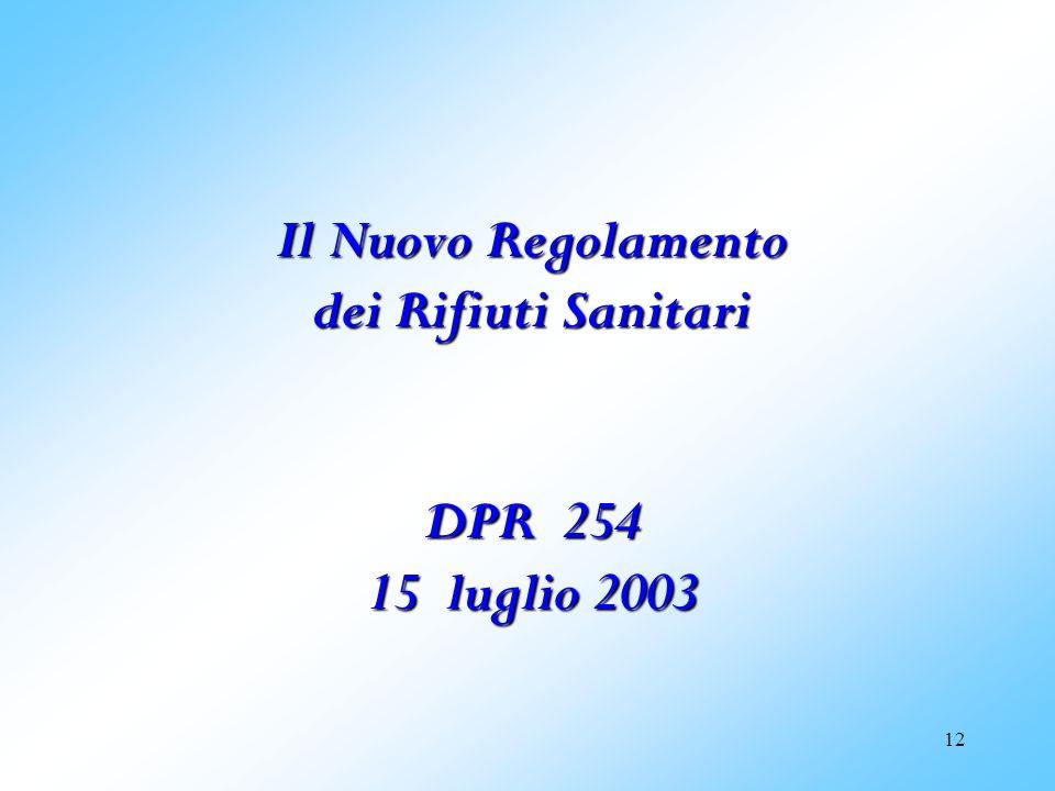 Il Nuovo Regolamento dei Rifiuti Sanitari DPR 254 15 luglio 2003