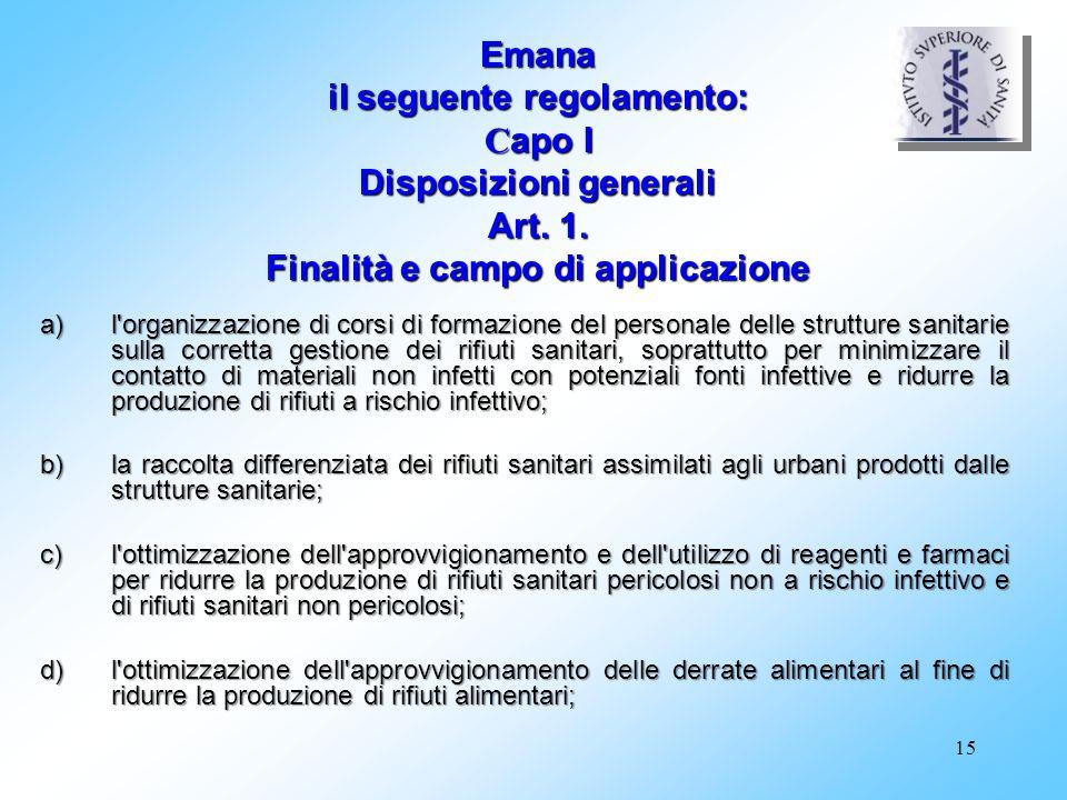 Emana il seguente regolamento: Capo I Disposizioni generali Art. 1