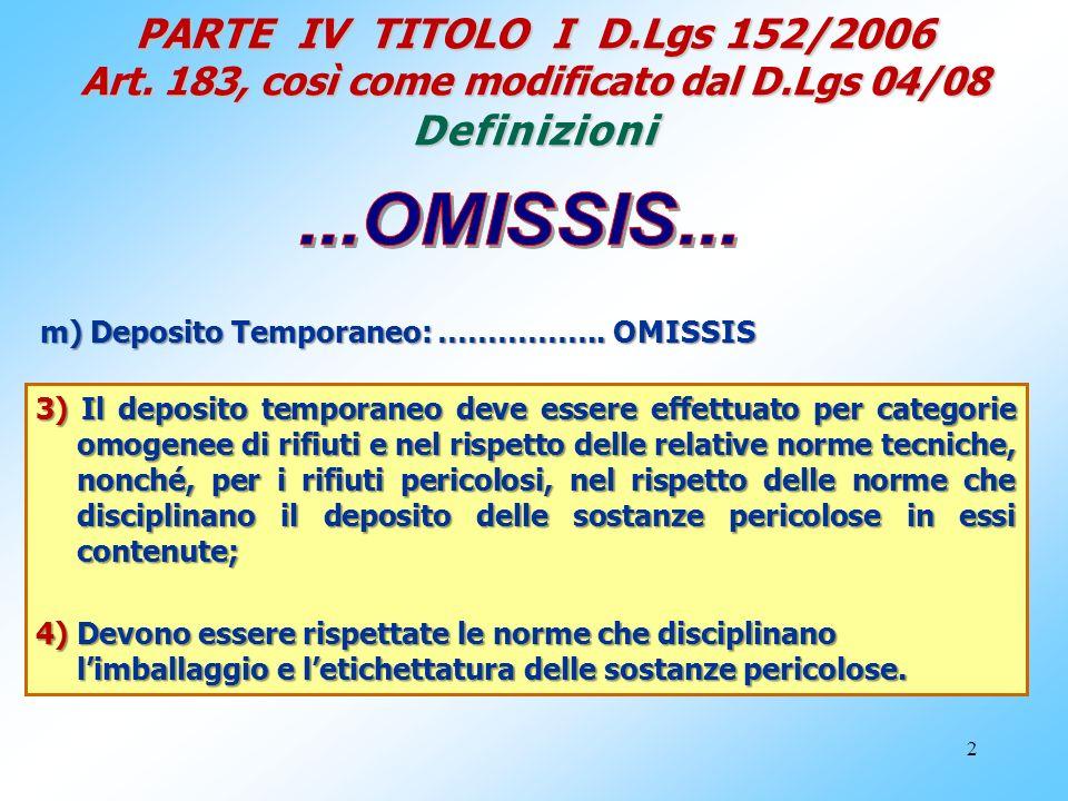 PARTE IV TITOLO I D. Lgs 152/2006 Art. 183, così come modificato dal D