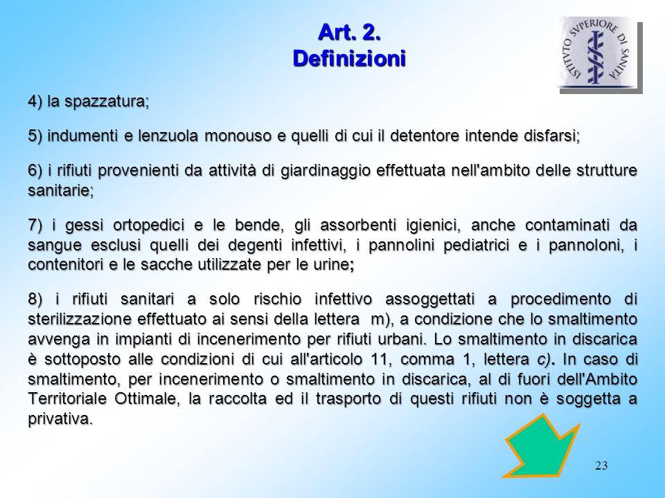 Art. 2. Definizioni 4) la spazzatura;