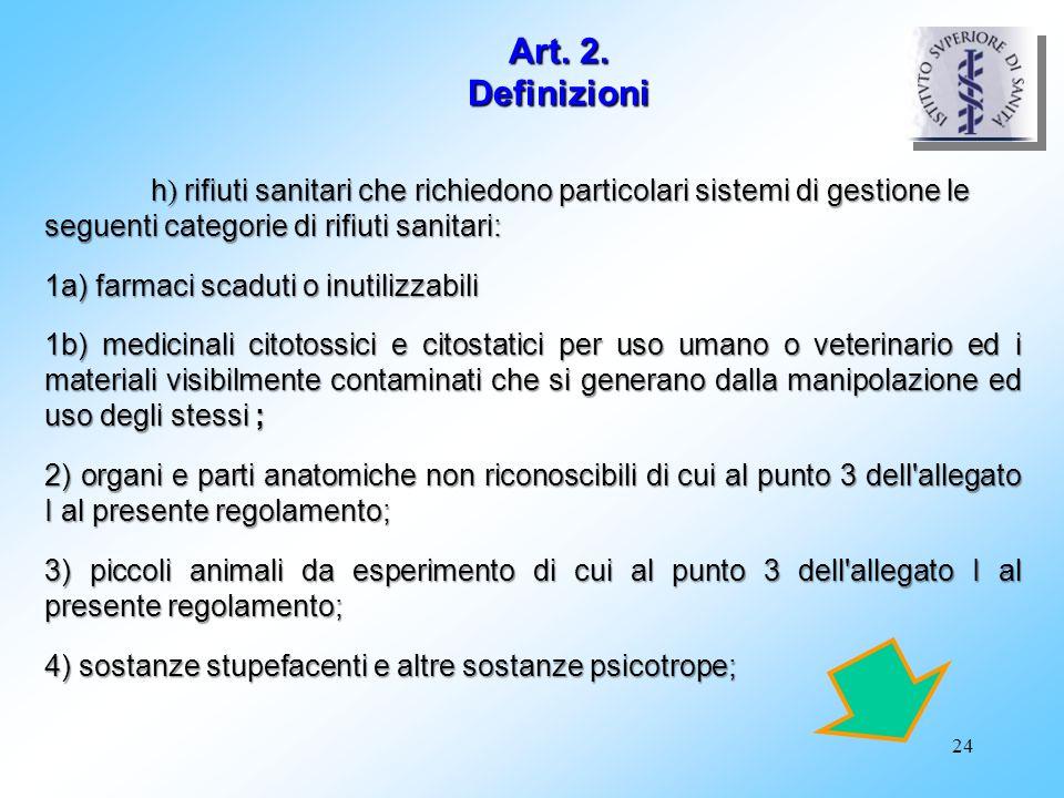 Art. 2. Definizioni 1a) farmaci scaduti o inutilizzabili