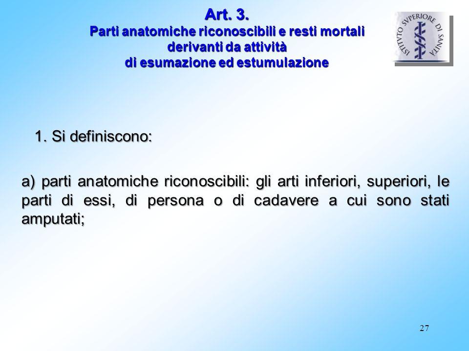 Art. 3. Parti anatomiche riconoscibili e resti mortali derivanti da attività di esumazione ed estumulazione