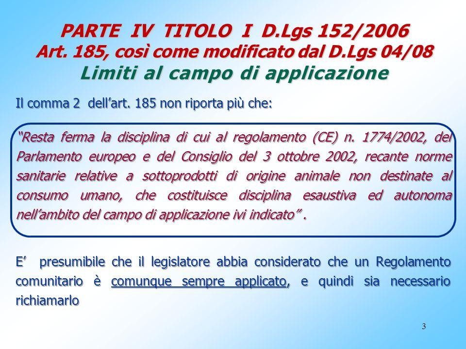 PARTE IV TITOLO I D. Lgs 152/2006 Art. 185, così come modificato dal D