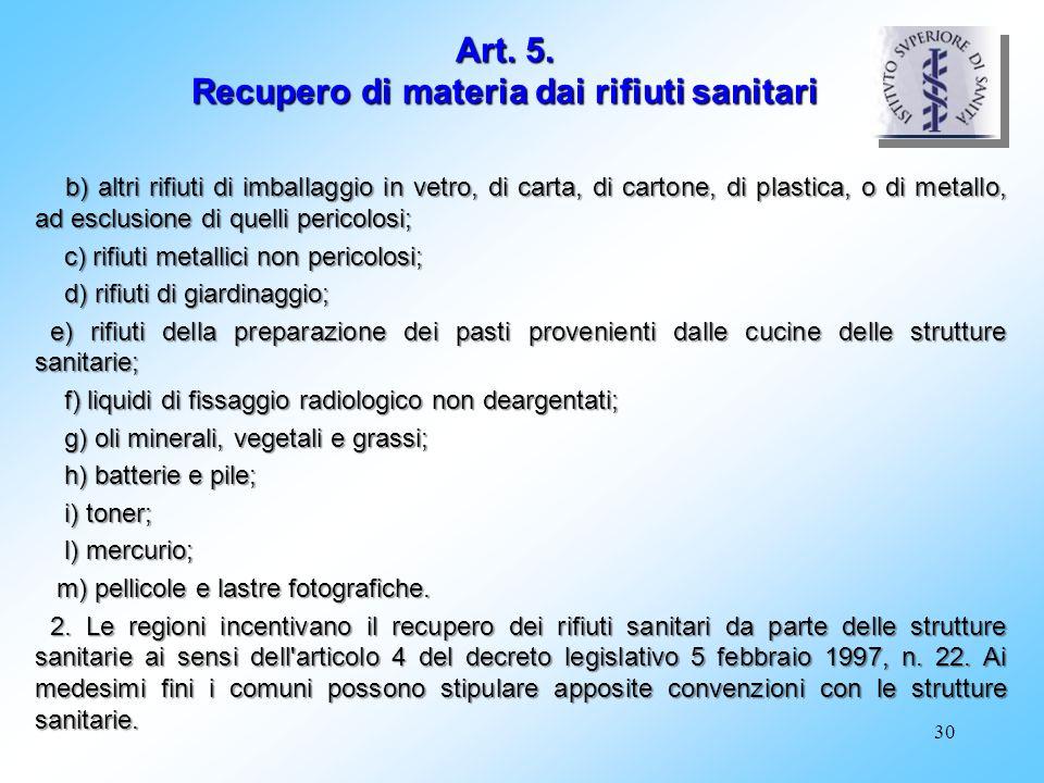 Art. 5. Recupero di materia dai rifiuti sanitari