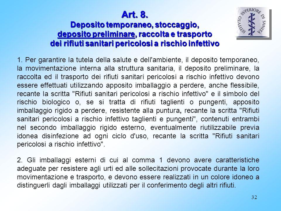 Art. 8. Deposito temporaneo, stoccaggio, deposito preliminare, raccolta e trasporto dei rifiuti sanitari pericolosi a rischio infettivo