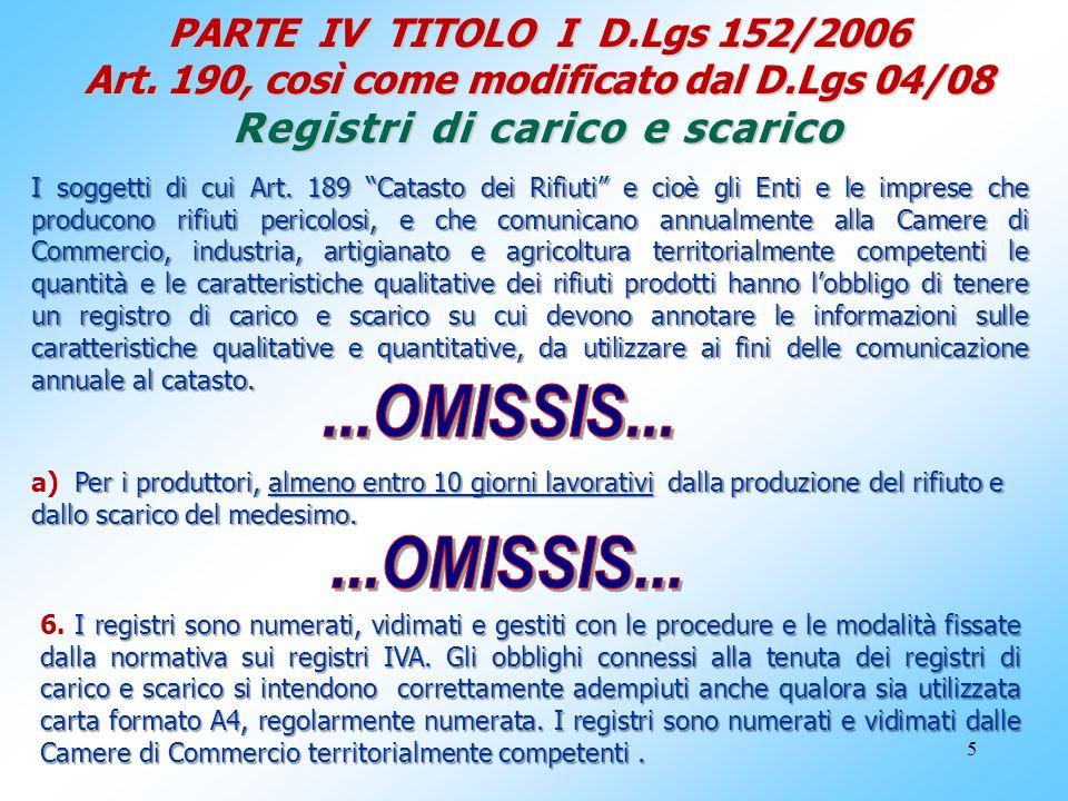 PARTE IV TITOLO I D. Lgs 152/2006 Art. 190, così come modificato dal D