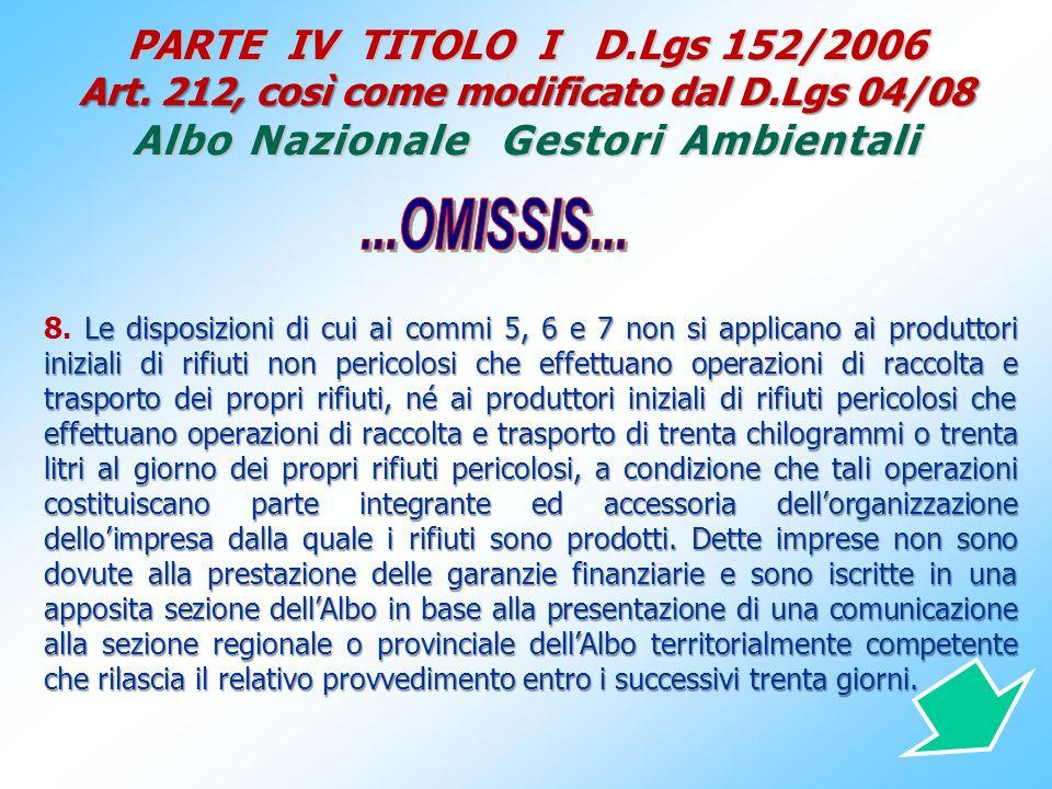 PARTE IV TITOLO I D. Lgs 152/2006 Art. 212, così come modificato dal D