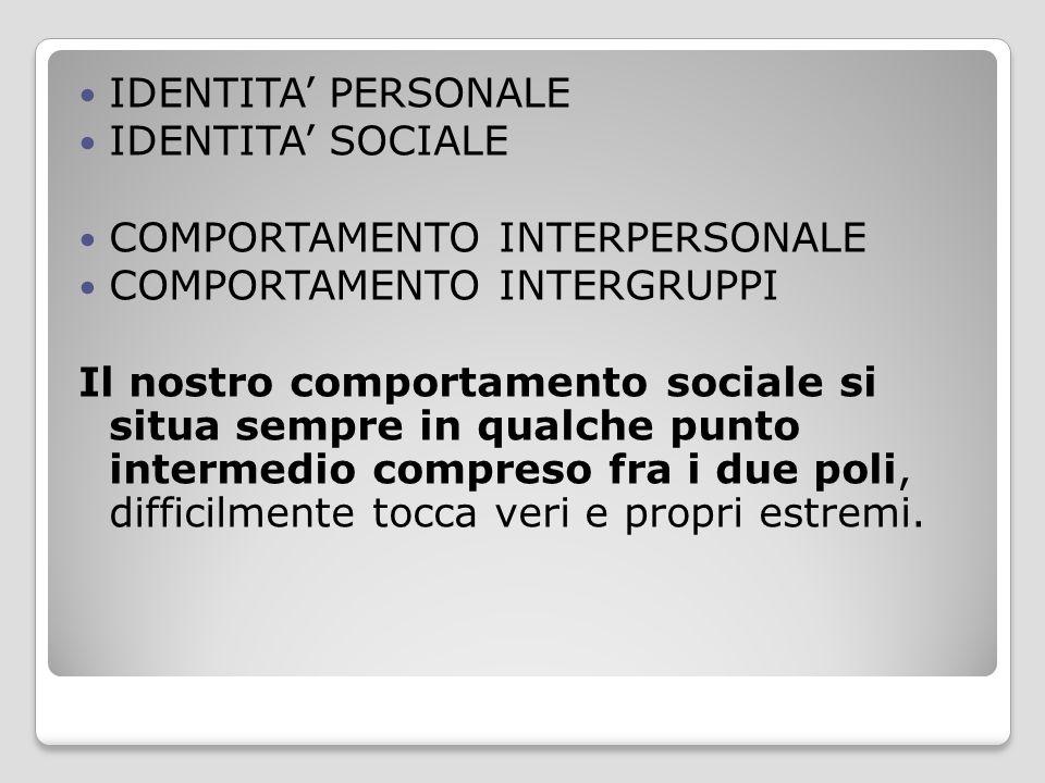 IDENTITA' PERSONALE IDENTITA' SOCIALE. COMPORTAMENTO INTERPERSONALE. COMPORTAMENTO INTERGRUPPI.