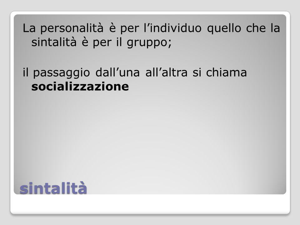 La personalità è per l'individuo quello che la sintalità è per il gruppo; il passaggio dall'una all'altra si chiama socializzazione