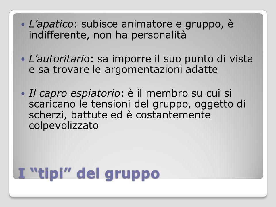 L'apatico: subisce animatore e gruppo, è indifferente, non ha personalità
