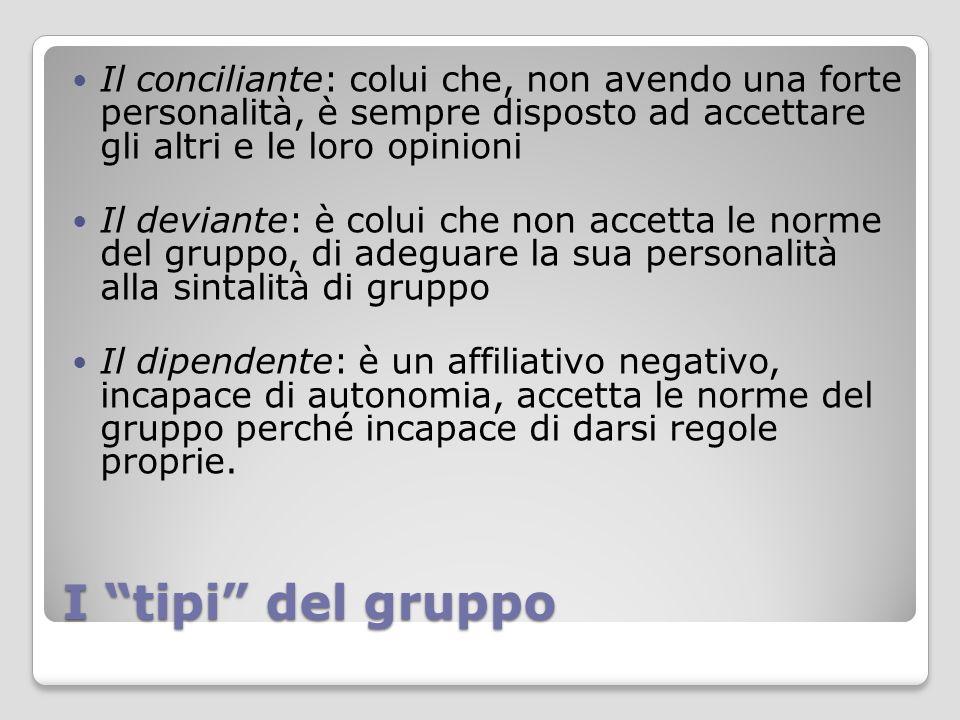 Il conciliante: colui che, non avendo una forte personalità, è sempre disposto ad accettare gli altri e le loro opinioni
