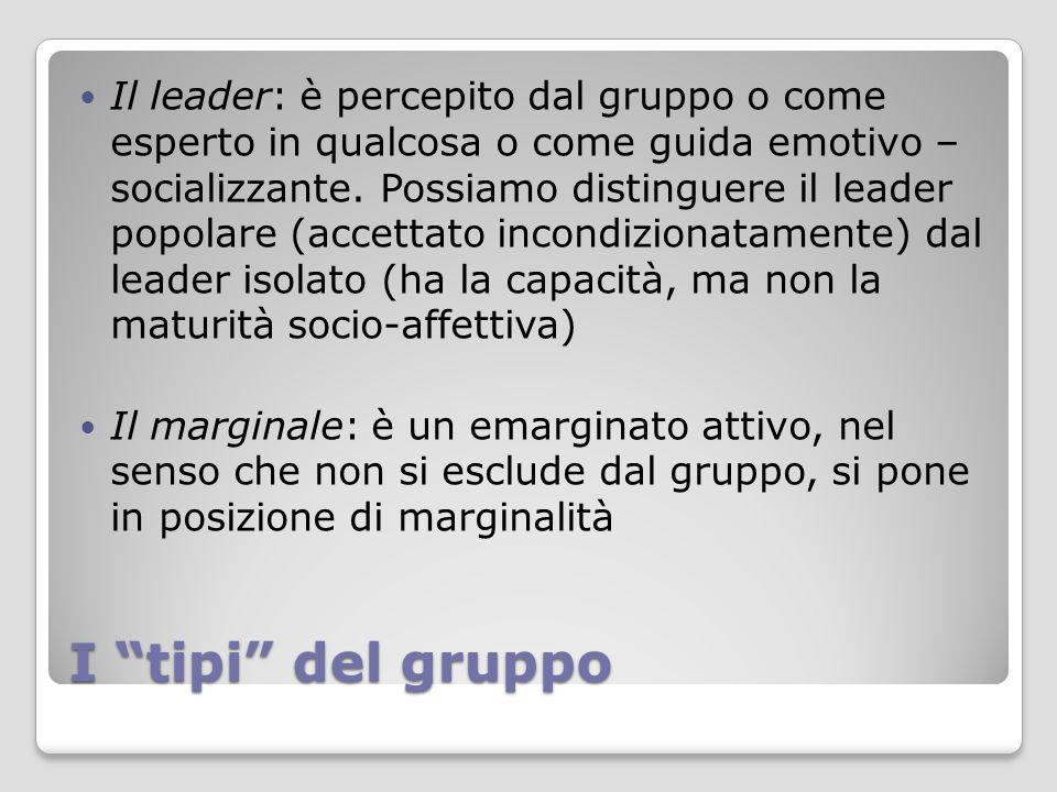 Il leader: è percepito dal gruppo o come esperto in qualcosa o come guida emotivo – socializzante. Possiamo distinguere il leader popolare (accettato incondizionatamente) dal leader isolato (ha la capacità, ma non la maturità socio-affettiva)