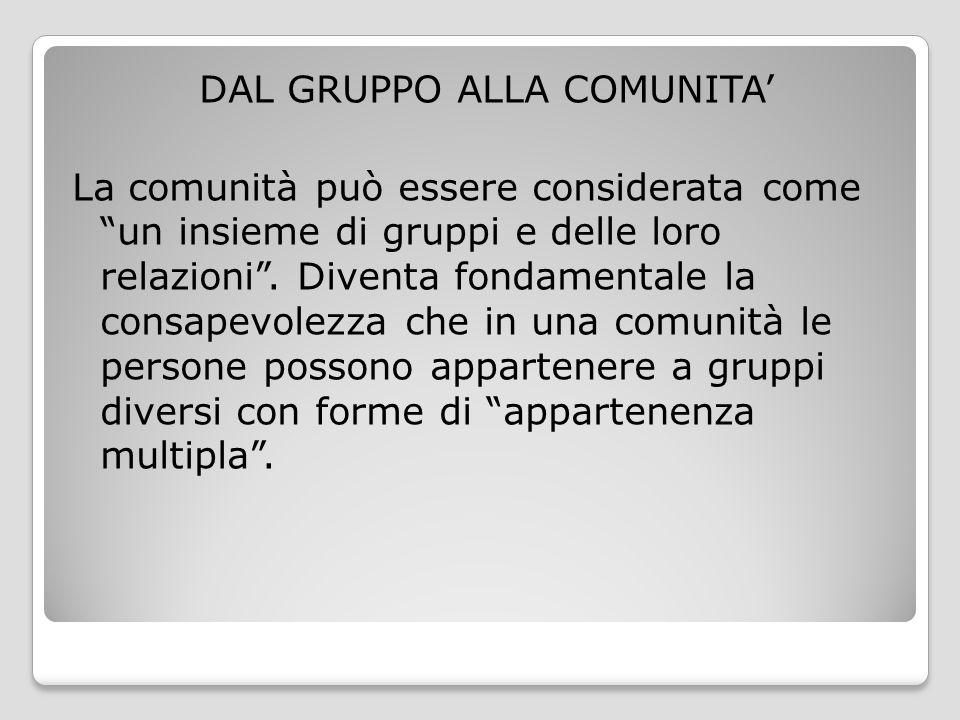 DAL GRUPPO ALLA COMUNITA' La comunità può essere considerata come un insieme di gruppi e delle loro relazioni .