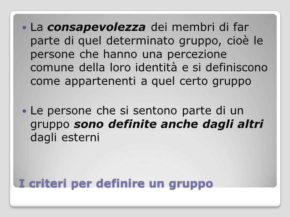 I criteri per definire un gruppo
