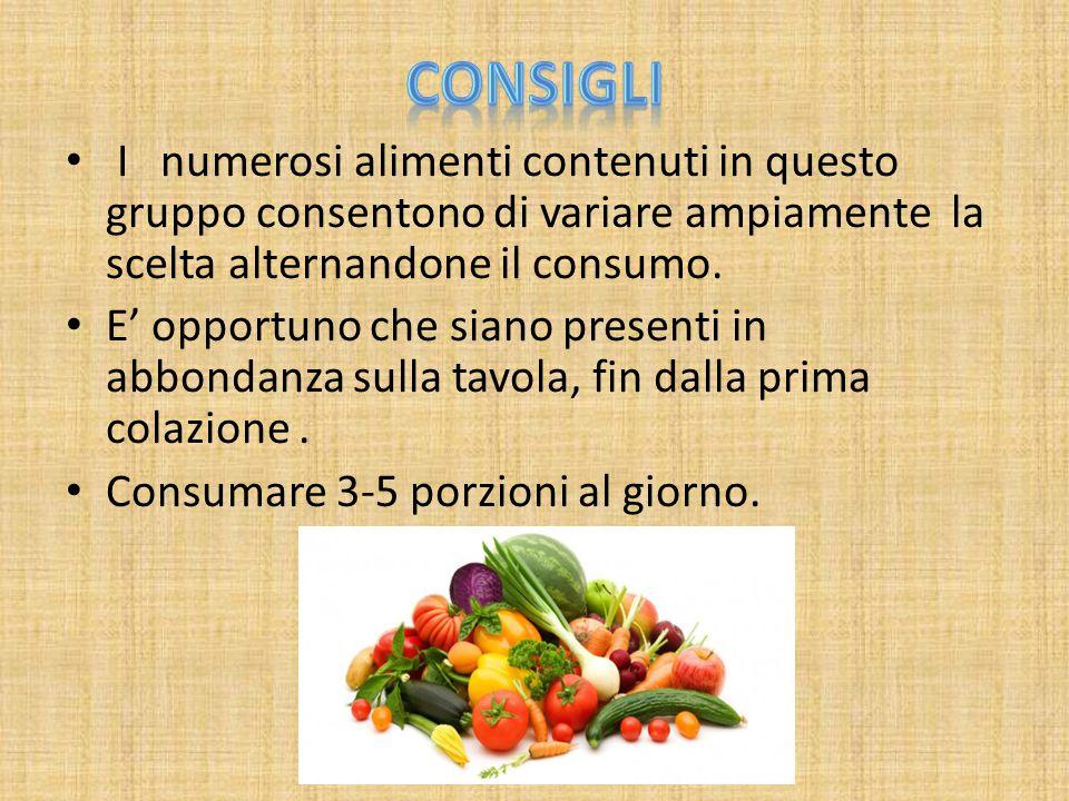 Consigli I numerosi alimenti contenuti in questo gruppo consentono di variare ampiamente la scelta alternandone il consumo.