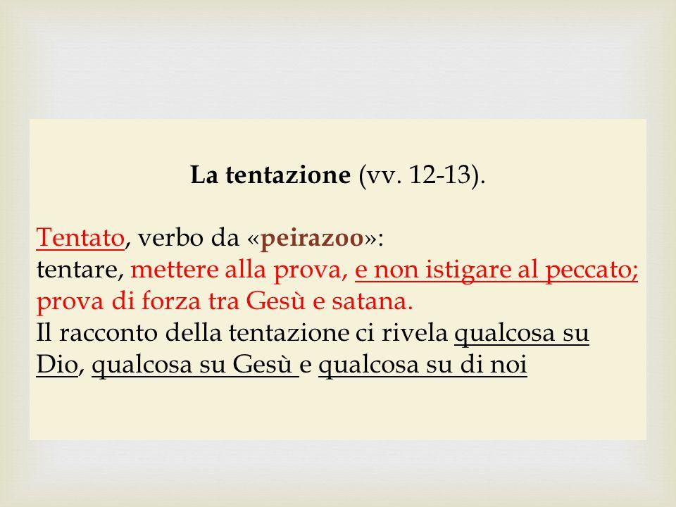 La tentazione (vv. 12-13). Tentato, verbo da «peirazoo»: tentare, mettere alla prova, e non istigare al peccato;