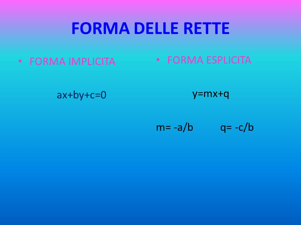 FORMA DELLE RETTE FORMA ESPLICITA FORMA IMPLICITA y=mx+q ax+by+c=0