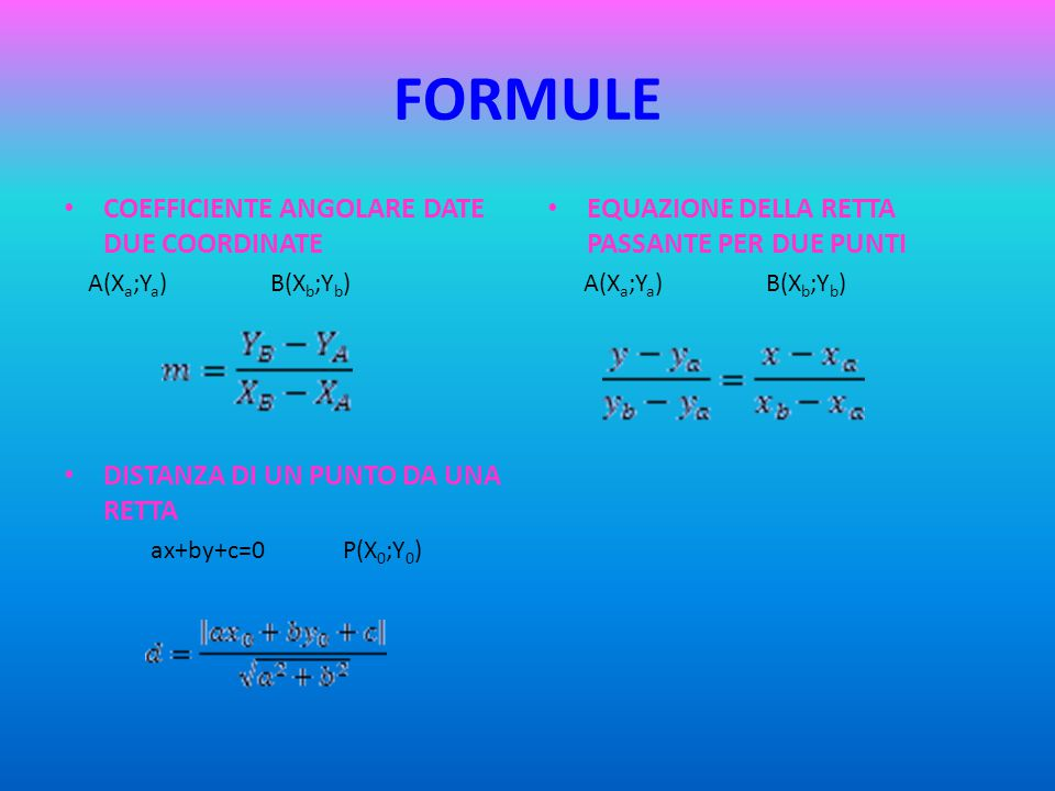 FORMULE COEFFICIENTE ANGOLARE DATE DUE COORDINATE
