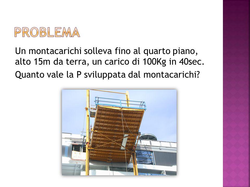 Problema Un montacarichi solleva fino al quarto piano, alto 15m da terra, un carico di 100Kg in 40sec.