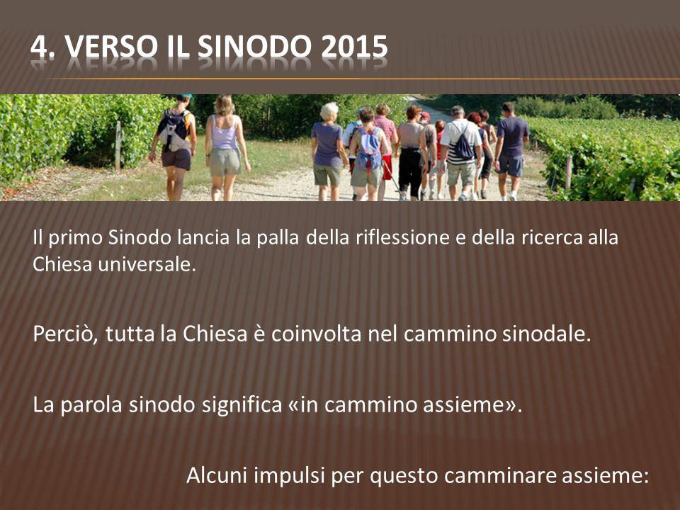 4. VERSO Il Sinodo 2015 Il primo Sinodo lancia la palla della riflessione e della ricerca alla Chiesa universale.