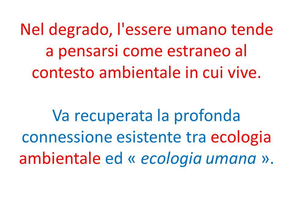 Nel degrado, l essere umano tende a pensarsi come estraneo al contesto ambientale in cui vive.