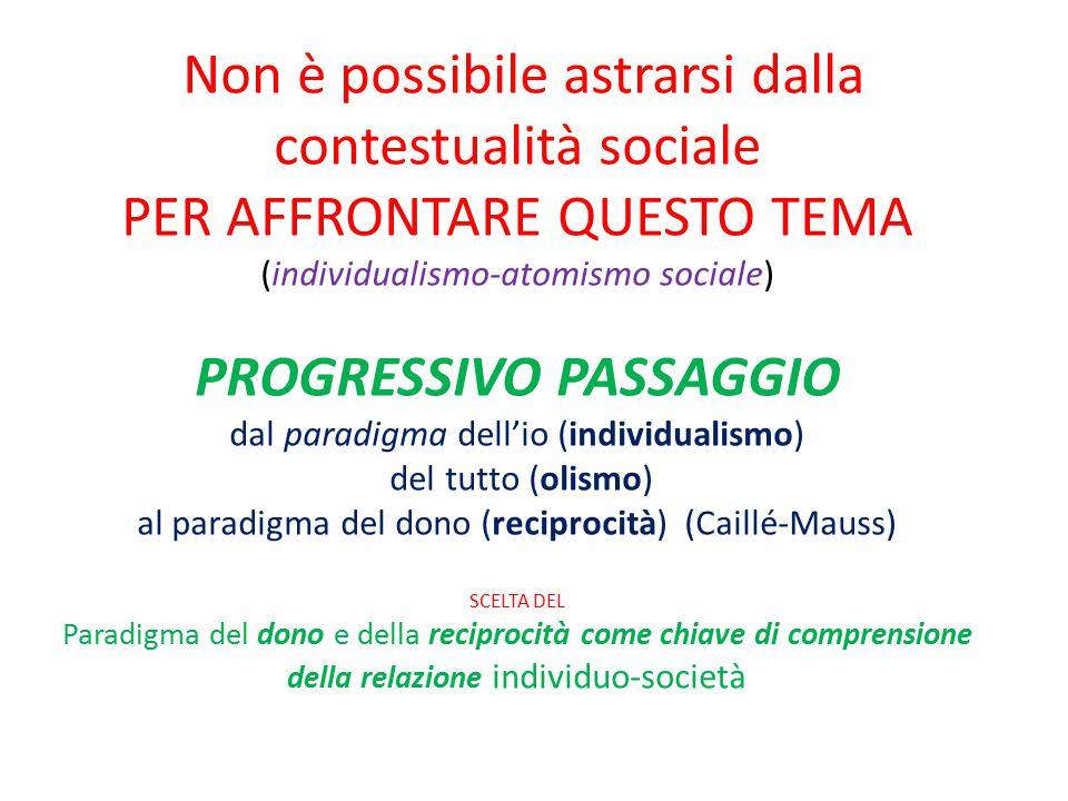 Non è possibile astrarsi dalla contestualità sociale PER AFFRONTARE QUESTO TEMA (individualismo-atomismo sociale) PROGRESSIVO PASSAGGIO dal paradigma dell'io (individualismo) del tutto (olismo) al paradigma del dono (reciprocità) (Caillé-Mauss) SCELTA DEL Paradigma del dono e della reciprocità come chiave di comprensione della relazione individuo-società