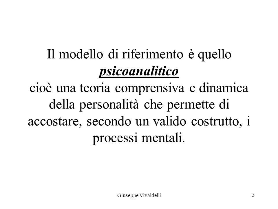Il modello di riferimento è quello psicoanalitico cioè una teoria comprensiva e dinamica della personalità che permette di accostare, secondo un valido costrutto, i processi mentali.