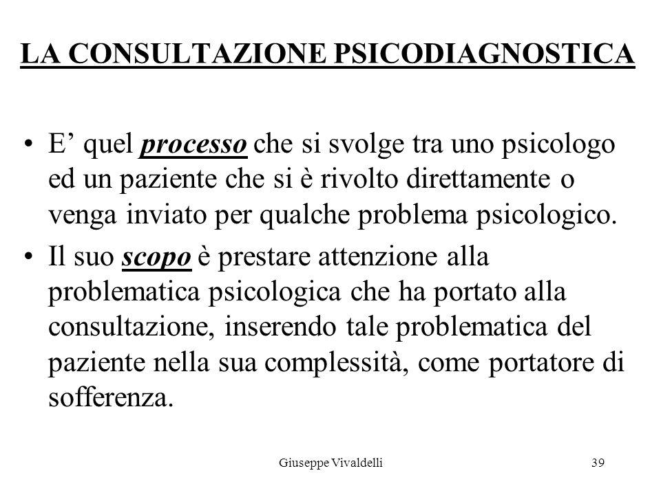 LA CONSULTAZIONE PSICODIAGNOSTICA