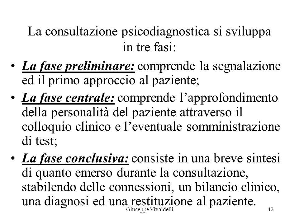 La consultazione psicodiagnostica si sviluppa in tre fasi: