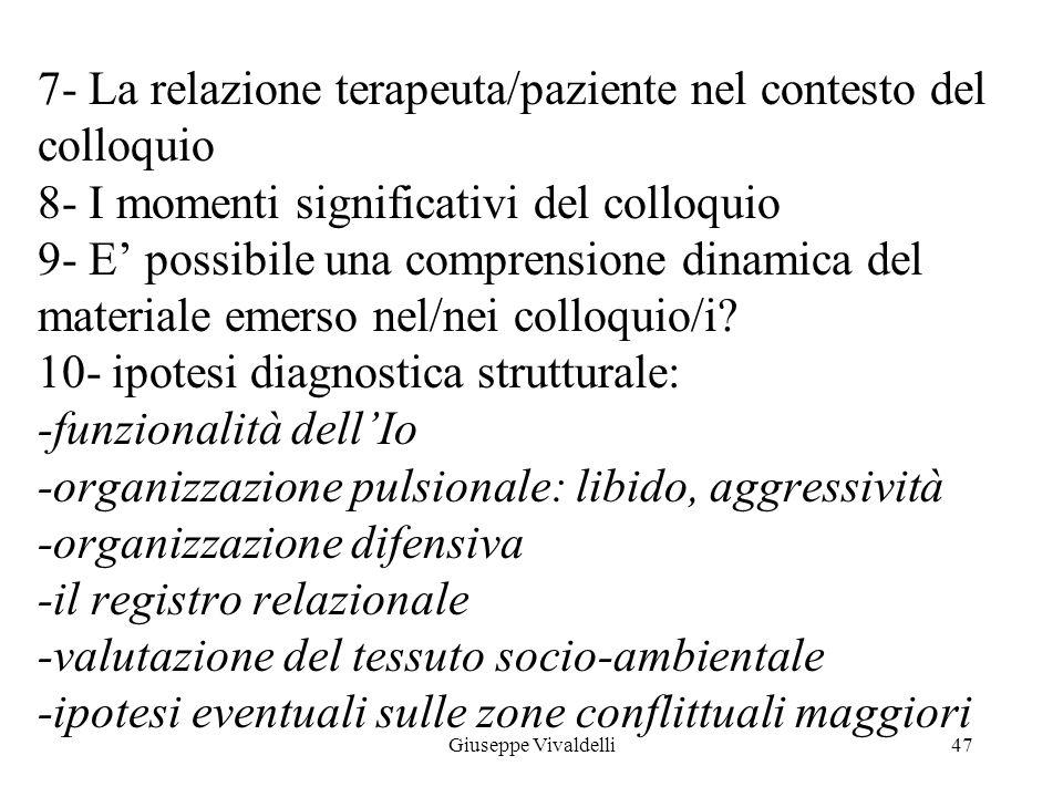 7- La relazione terapeuta/paziente nel contesto del colloquio 8- I momenti significativi del colloquio 9- E' possibile una comprensione dinamica del materiale emerso nel/nei colloquio/i 10- ipotesi diagnostica strutturale: -funzionalità dell'Io -organizzazione pulsionale: libido, aggressività -organizzazione difensiva -il registro relazionale -valutazione del tessuto socio-ambientale -ipotesi eventuali sulle zone conflittuali maggiori