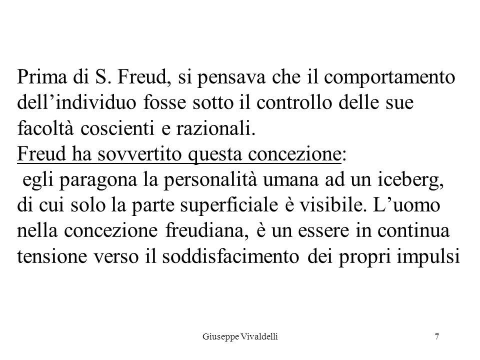 Prima di S. Freud, si pensava che il comportamento dell'individuo fosse sotto il controllo delle sue facoltà coscienti e razionali. Freud ha sovvertito questa concezione: egli paragona la personalità umana ad un iceberg, di cui solo la parte superficiale è visibile. L'uomo nella concezione freudiana, è un essere in continua tensione verso il soddisfacimento dei propri impulsi