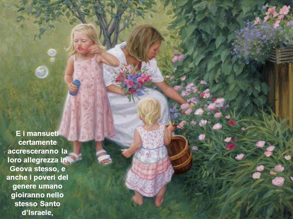 E i mansueti certamente accresceranno la loro allegrezza in Geova stesso, e anche i poveri del genere umano gioiranno nello stesso Santo d'Israele,