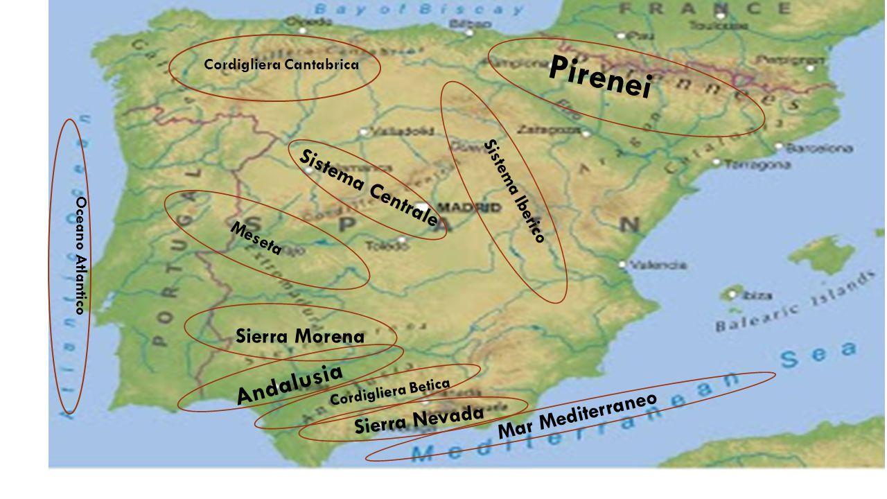 Le catene montuose Sistema Centrale Sierra Morena Mar Mediterraneo