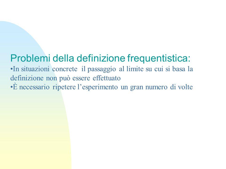 Problemi della definizione frequentistica: