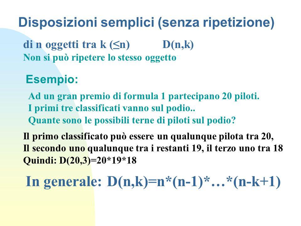 Disposizioni semplici (senza ripetizione)