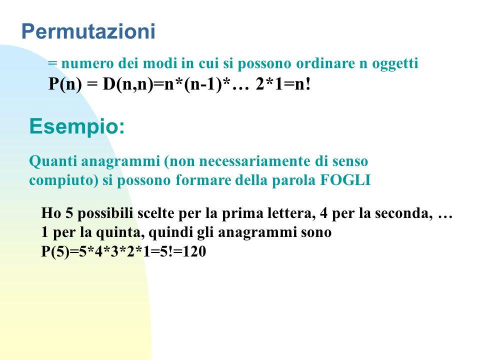 Permutazioni Esempio: P(n) = D(n,n)=n*(n-1)*… 2*1=n!
