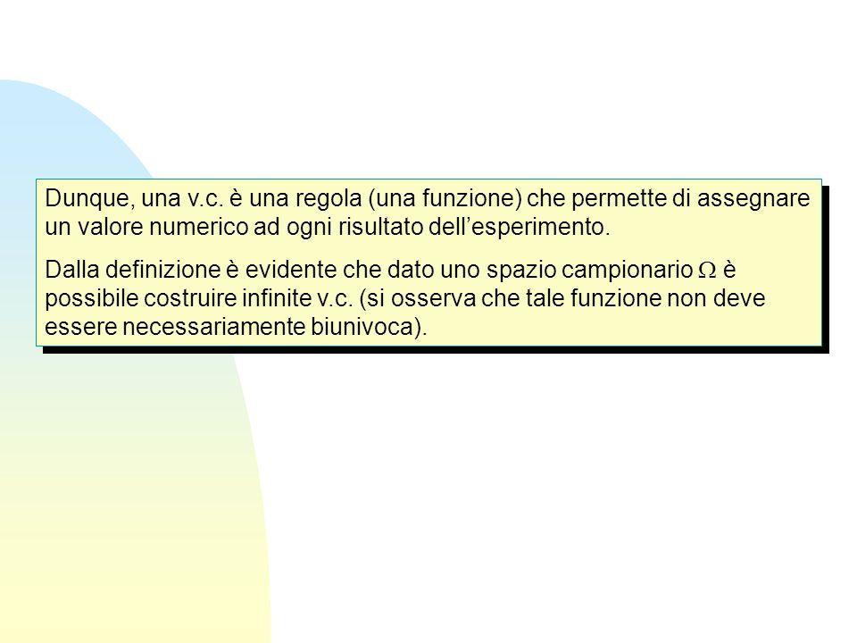 Dunque, una v.c. è una regola (una funzione) che permette di assegnare un valore numerico ad ogni risultato dell'esperimento.