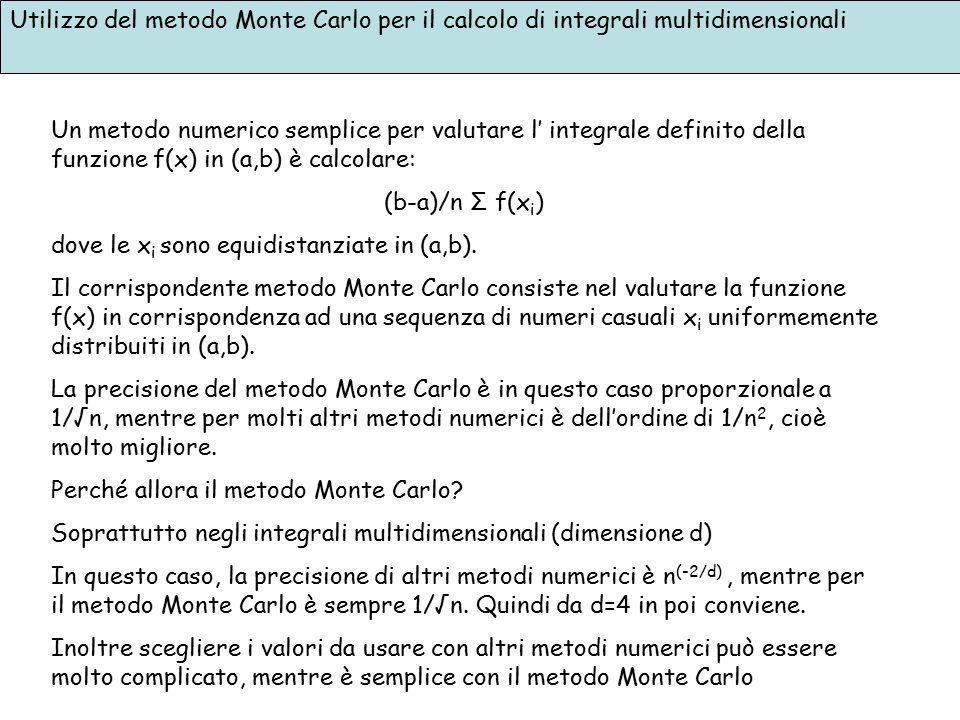 Utilizzo del metodo Monte Carlo per il calcolo di integrali multidimensionali