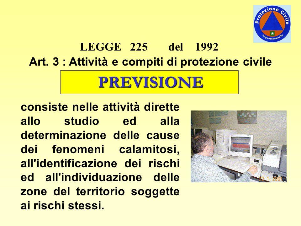 Art. 3 : Attività e compiti di protezione civile