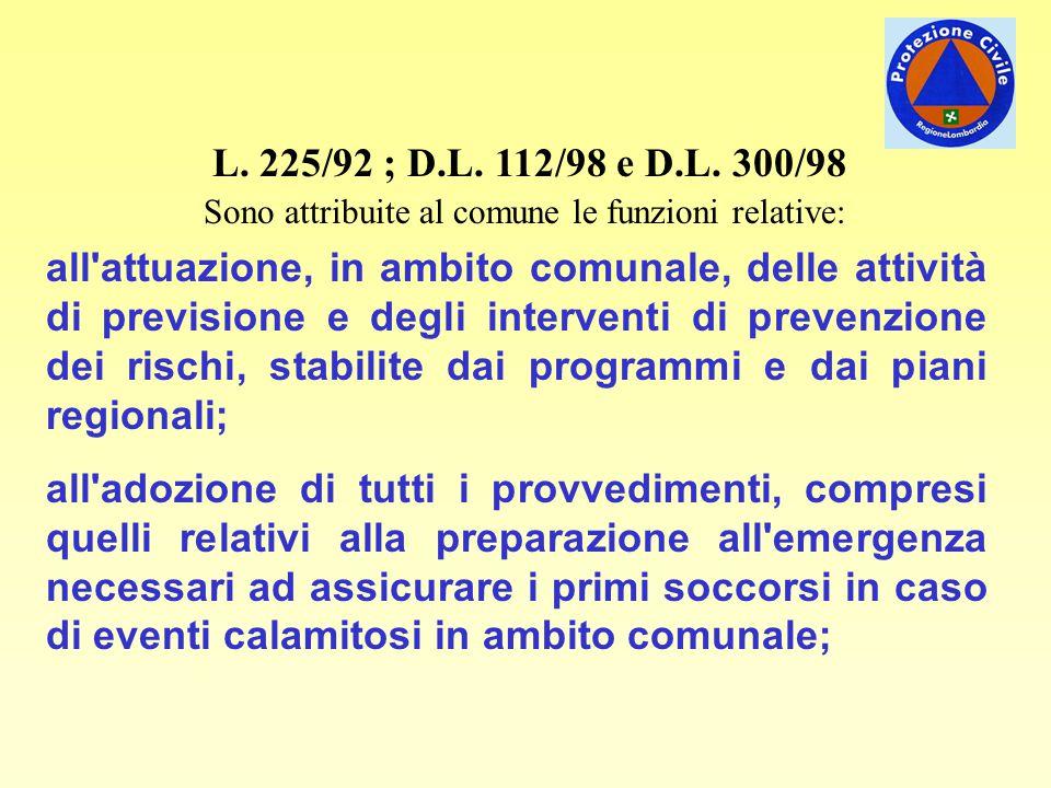 L. 225/92 ; D.L. 112/98 e D.L. 300/98 Sono attribuite al comune le funzioni relative: