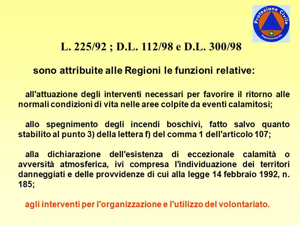 L. 225/92 ; D.L. 112/98 e D.L. 300/98 sono attribuite alle Regioni le funzioni relative: