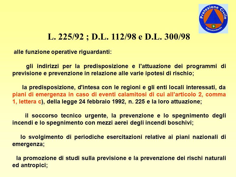 L. 225/92 ; D.L. 112/98 e D.L. 300/98 alle funzione operative riguardanti: