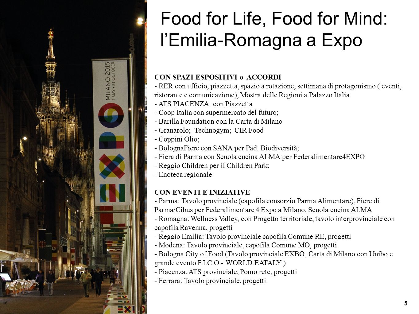 Food for Life, Food for Mind: l'Emilia-Romagna a Expo