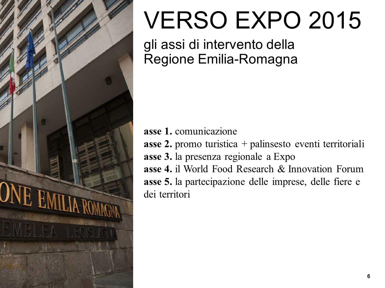 VERSO EXPO 2015 gli assi di intervento della Regione Emilia-Romagna