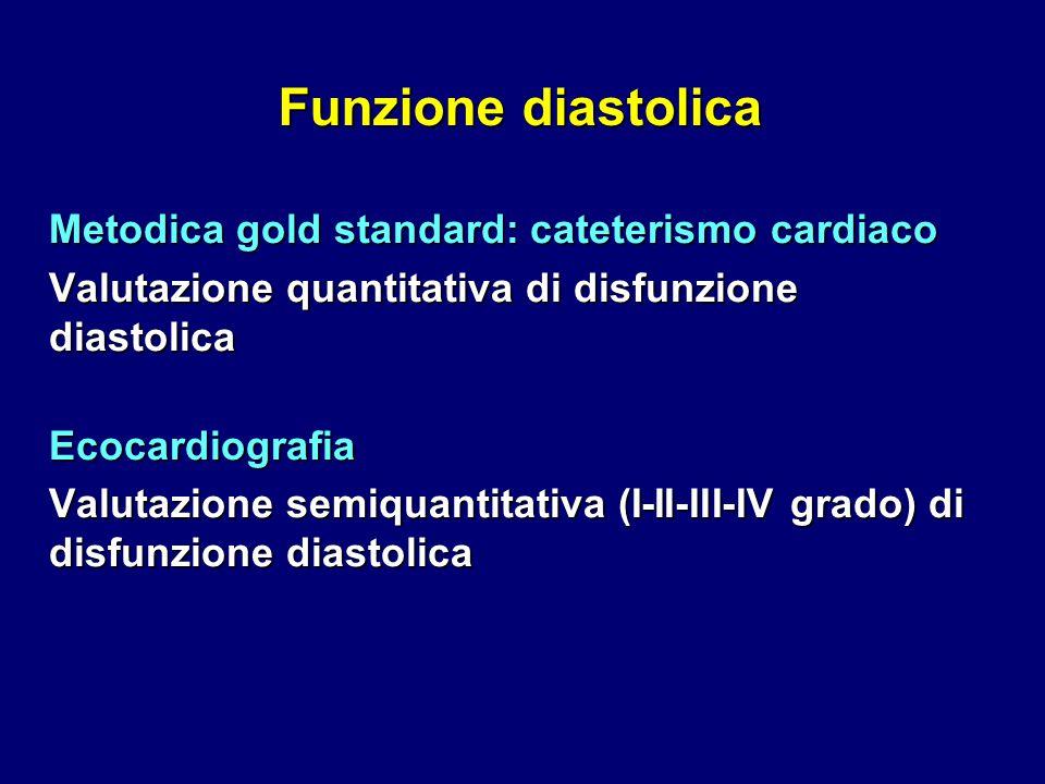 Funzione diastolica Metodica gold standard: cateterismo cardiaco