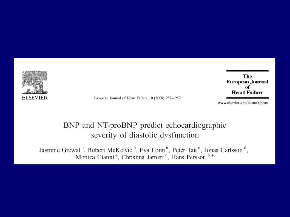 Negli ultimi anni è stato proposto anche il BNP come indice di disfunzione diastolica e non solo sistolica